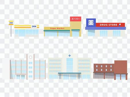插圖集的城鎮設施和商店