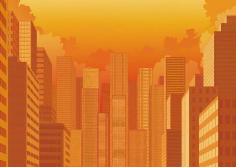 Sunset and skyscraper
