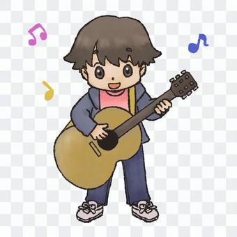 一個彈吉他和說話的人