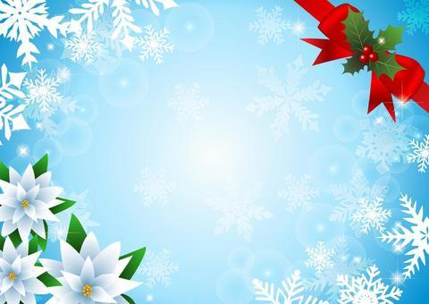 ポインセチアと雪のクリスマス背景水色