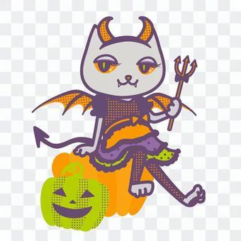 ハロウィン仮装のネコ(小悪魔)