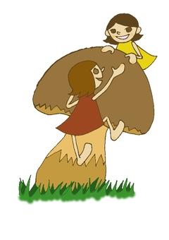 一個爬蘑菇的仙女