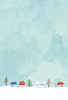 明信片在白雪皚皚的小鎮中垂直