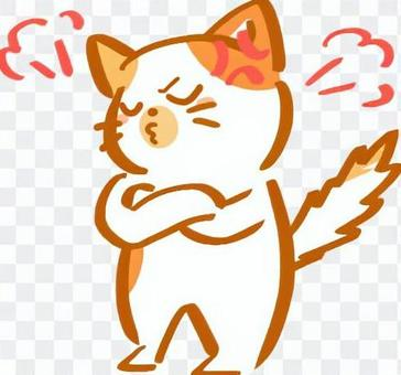 憤怒的貓(棕色)的插圖