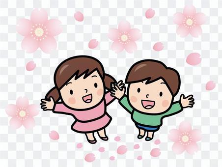櫻花暴風雪與兒童