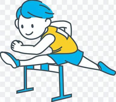 運動男孩跳藍色黃色白色障礙