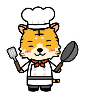 有煎鍋的老虎廚師