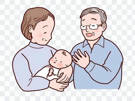 一個女人抱著一個嬰兒和一個男人看著
