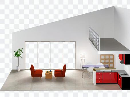 Living room with loft - 3 (section)