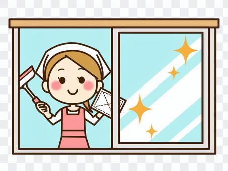 女人清洗窗戶01