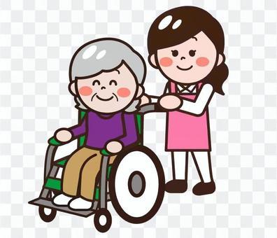 推著輪椅的護士(女)