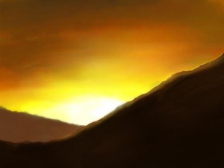在山的日落背景圖