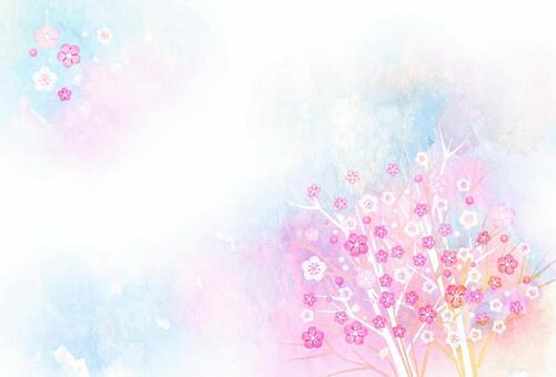 水彩風カラフル小花のポストカードヨコ