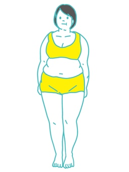 Metabolic syndrome obese woman whole body front
