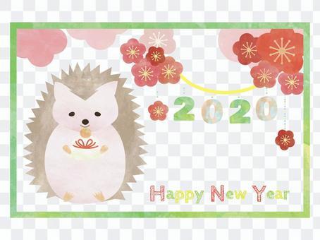 新年賀卡兒童年鼠標刺猬