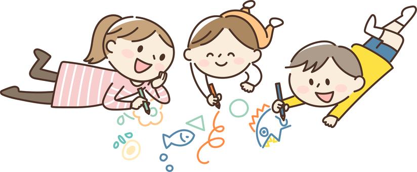 그림 그리기를하는 아이들