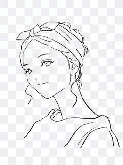 Hand drawn line art hairband style woman