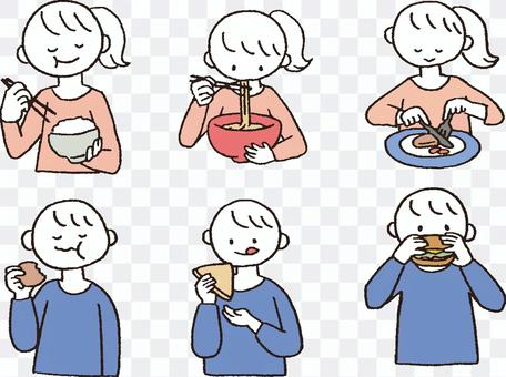 Men and women who eat various things