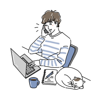 Illustration of a man working from home