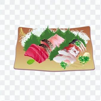生魚片盤片(正方形棕色皿)