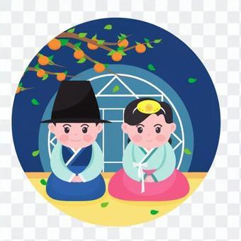 坐在傳統服飾的男人和女人