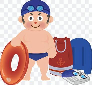 Boy in swimsuit