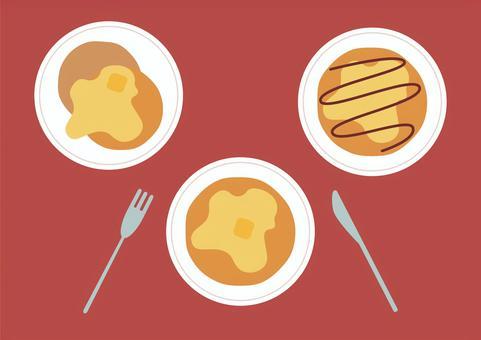 パンケーキイラスト3種