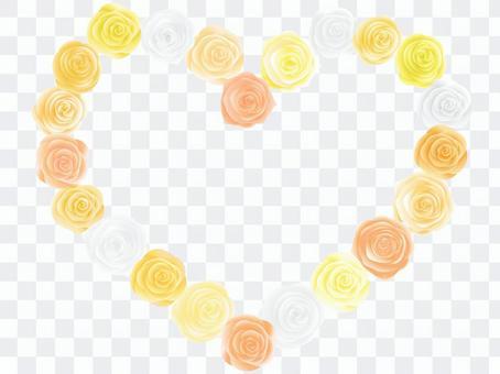 ばらのハート型アーチ黄色