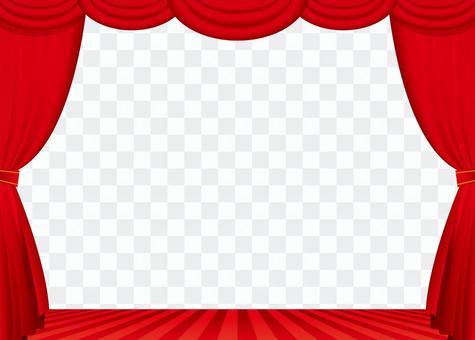 紅色的窗簾和舞台框架