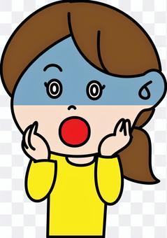 驚訝的女人深藍色的面部表情