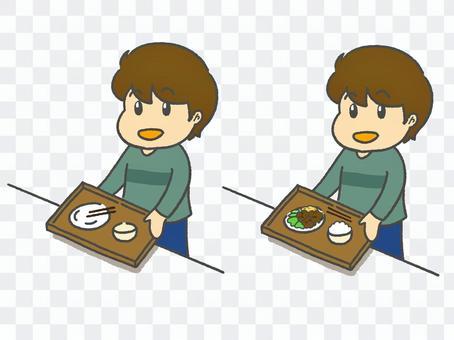 男孩背著餐和男孩吃盤子