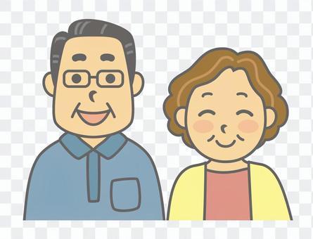 人們(五六十歲的情侶)尊重過年的一天