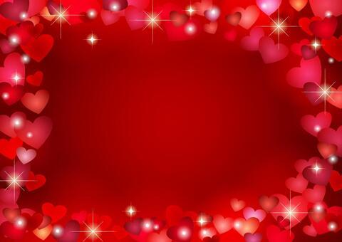 ハートフレームの背景赤ヨコ