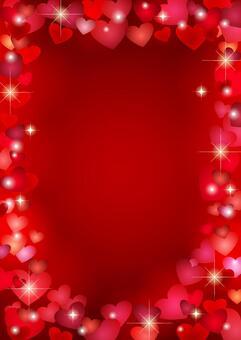ハートフレームの背景赤タテ