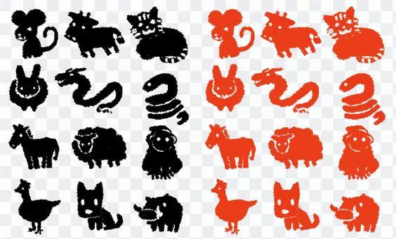 十二生肖新年賀卡郵票風格(黑色/朱紅色)