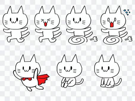 とがった耳の白いネコ
