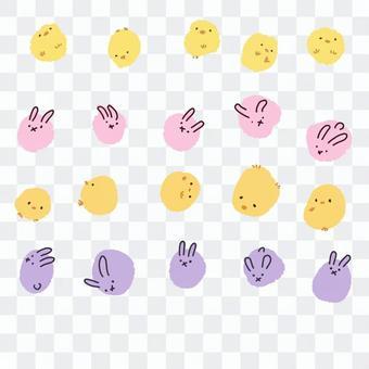 小雞和兔子的手寫的插圖