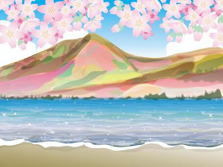 湖的四季(1)春天的櫻花