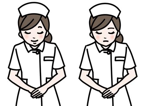 Woman bowing nurse