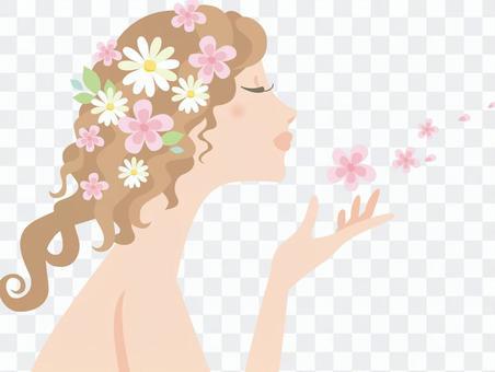Woman_curly頭髮和花