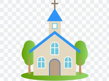 教堂,蓝色,树