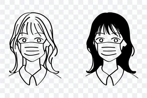 戴著面具的女人的插圖⑫(上半身)