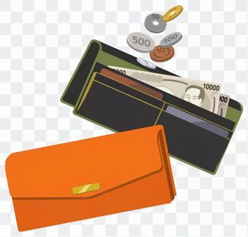 兩個錢包和現金(橙色和黑色