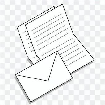 簡單字母圖像(信紙和信封)