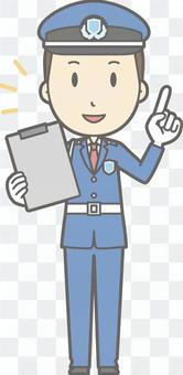 Security guard - finger pointing file - whole body