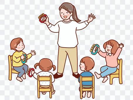 鈴を鳴らす子供と先生