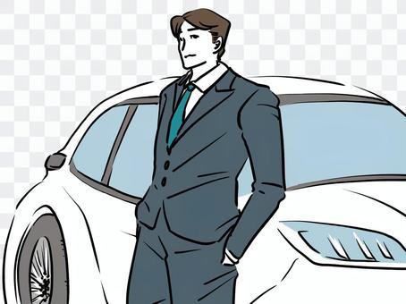 一個穿著西裝的男人吹噓一輛新車