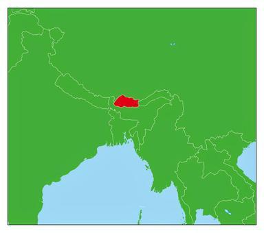 不丹地圖紅