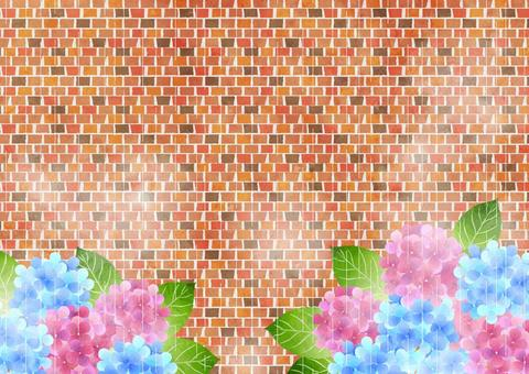 Hydrangea and brick rainy season background horizontal