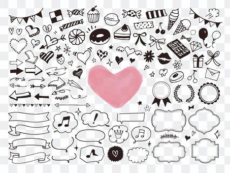 糖果和裝飾品的可愛線條藝術插圖
